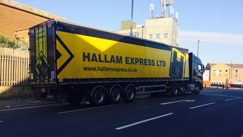 A lorry with Hallam Express Ltd written on it